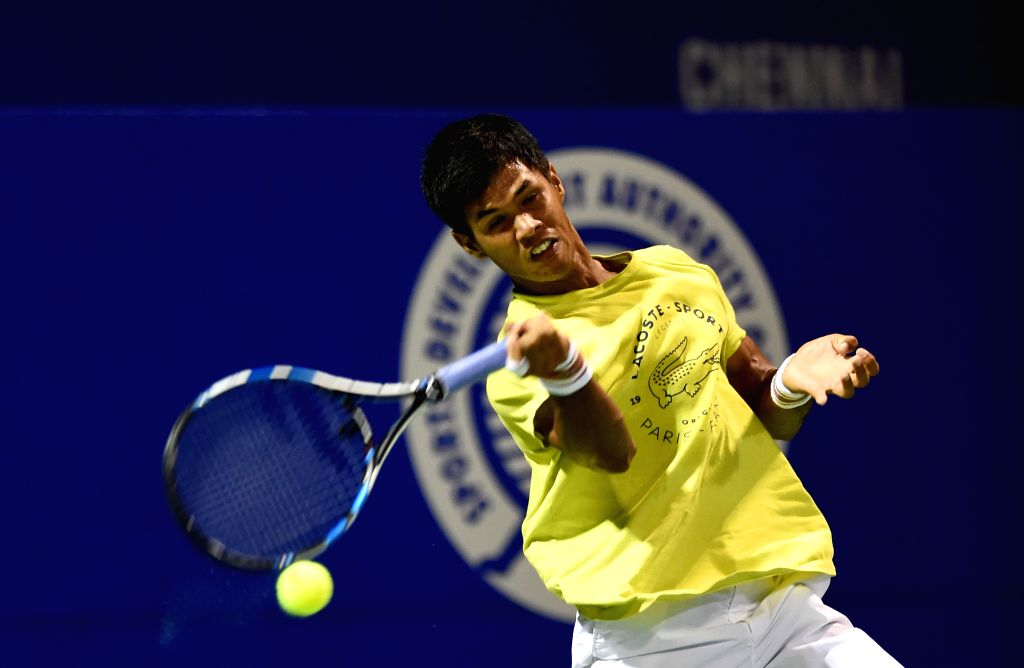 Indian Tennis player Somdev Devvarman during a practice session for ATP Chennai Open 2015 in Chennai on Jan. 3, 2014.
