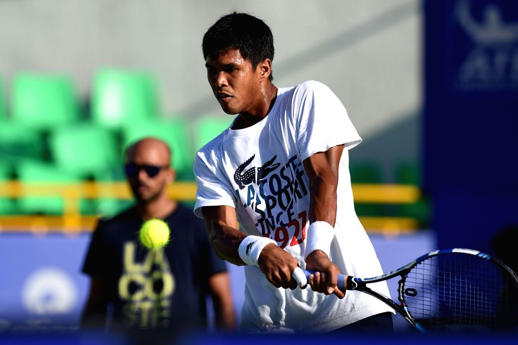 Indian tennis player Somdev Devvarman during a practice session ahead of ATP Chennai Open 2015  in Chennai on Jan 4, 2015.