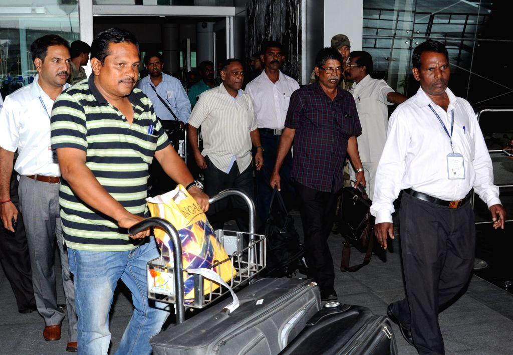 Indians stuck in violence hit Yemen arrive at the Chennai Airport, on April 4, 2015.