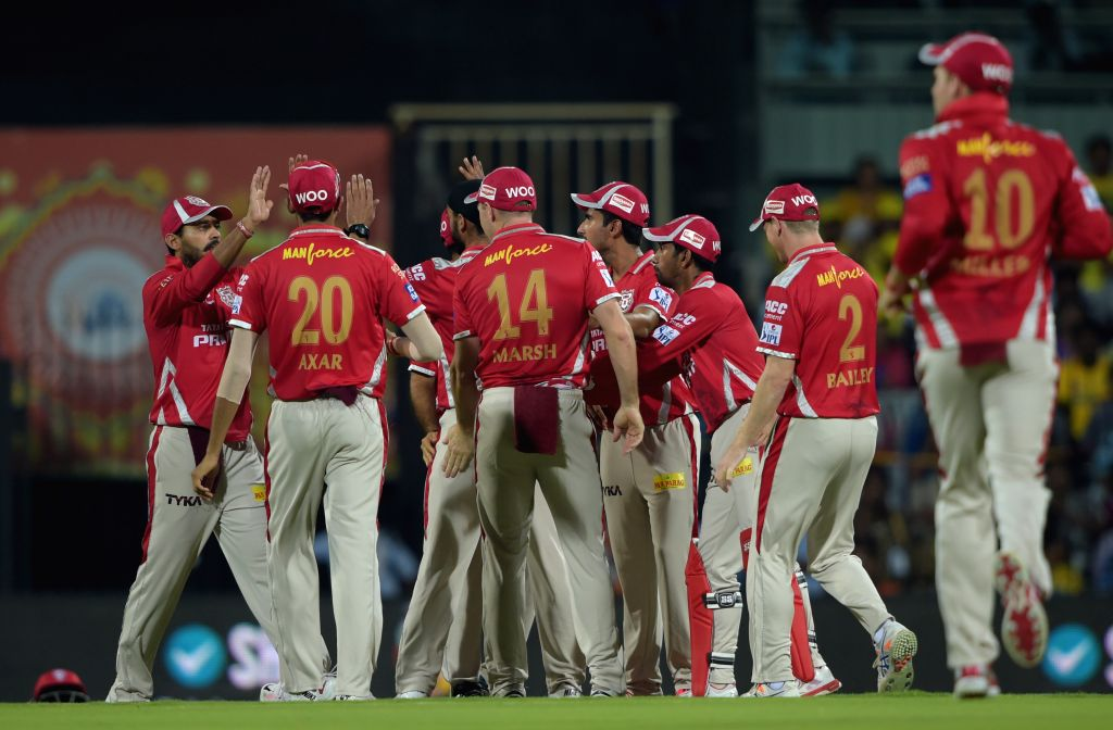 Kings XI Punjab celebrate fall of a wicket ​during an IPL-2015 match between Chennai Super Kings and ​Kings XI Punjab at MA Chidambaram Stadium, in Chennai, on April 25, 2015.