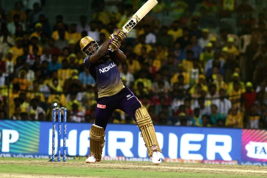 Chennai: Kolkata Knight Riders' Andre Russell in action during the 23rd match of IPL 2019 between Kolkata Knight Riders and Chennai Super Kings at MA Chidambaram Stadium, in Chennai on April 9, 2019. (Photo: IANS)