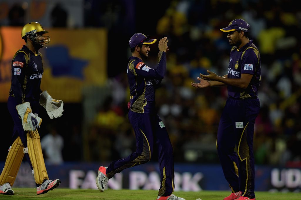 Kolkata Knight Riders celebrate fall of a wicket during an IPL - 2015 match between Chennai Super Kings and Kolkata Knight Riders at MA Chidambaram Stadium in Chennai, on April 28, 2015.