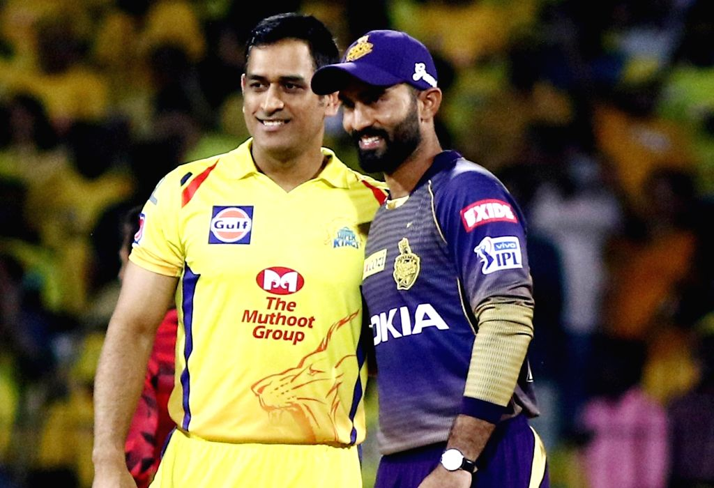 Chennai: Kolkata Knight Riders' skipper Dinesh Karthik and Chennai Super Kings' skipper MS Dhoni during the toss ahead of the 23rd match of IPL 2019 between Kolkata Knight Riders and Chennai Super Kings at MA Chidambaram Stadium, in Chennai on April  - MS Dhoni