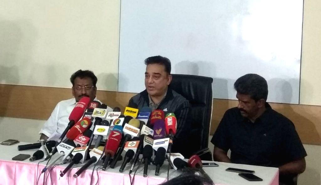 Chennai: Makkal Needhi Maiam president Kamal Haasan addresses a press conference in Chennai on Nov 22, 2018. (Photo: IANS)