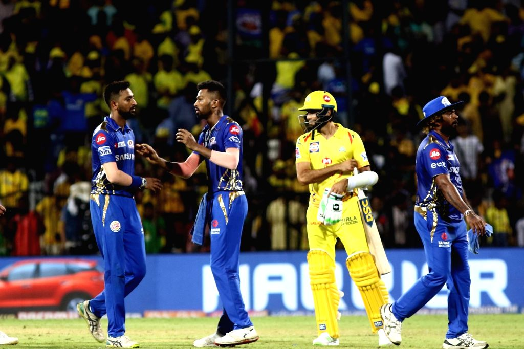 Chennai: Mumbai Indians celebrate after winning the 44th match of IPL 2019 against Chennai Super Kings at MA Chidambaram Stadium in Chennai, on April 26, 2019. (Photo: IANS)