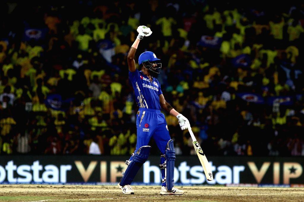 Chennai: Mumbai Indians' Hardik Pandya celebrates after winning the 1st Qualifier match of IPL 2019 against Chennai Super Kings at MA Chidambaram Stadium in Chennai, on May 7, 2019. Mumbai Indians won by 6 wickets. (Photo: IANS)