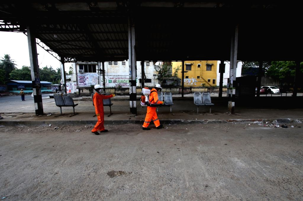 Chennai Municipal Corporation workers spray disinfectants across the city on Day 2 of the 21-day nationwide lockdown imposed by the Narendra Modi government over the coronavirus pandemic; on ... - Narendra Modi