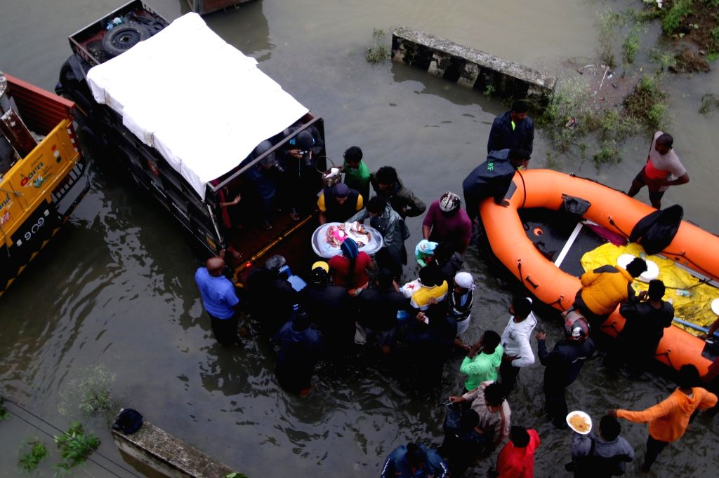 Chennai: NDRF personnel carry out rescue and relief operations after very severe cyclonic storm Nivar wreaked havoc, in Chennai on Nov 26, 2020. According to the Tamil Nadu government, three persons lost their lives due to rain related incidents and