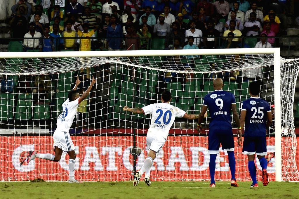 :Chennai: Players in action during an ISL match between Chennaiyin FC and FC Goa at Jawaharlal Nehru Stadium in Chennai on Nov. 5, 2015. (Photo: IANS).