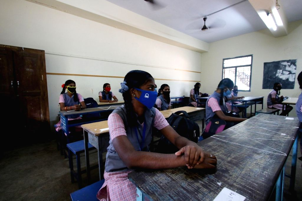 Chennai: Schools reopen for class 10th and 12th students in Chennai after the Pongal Holiday on tuesday, January 19,2021 (Photo: R Parthibhan/IANS)