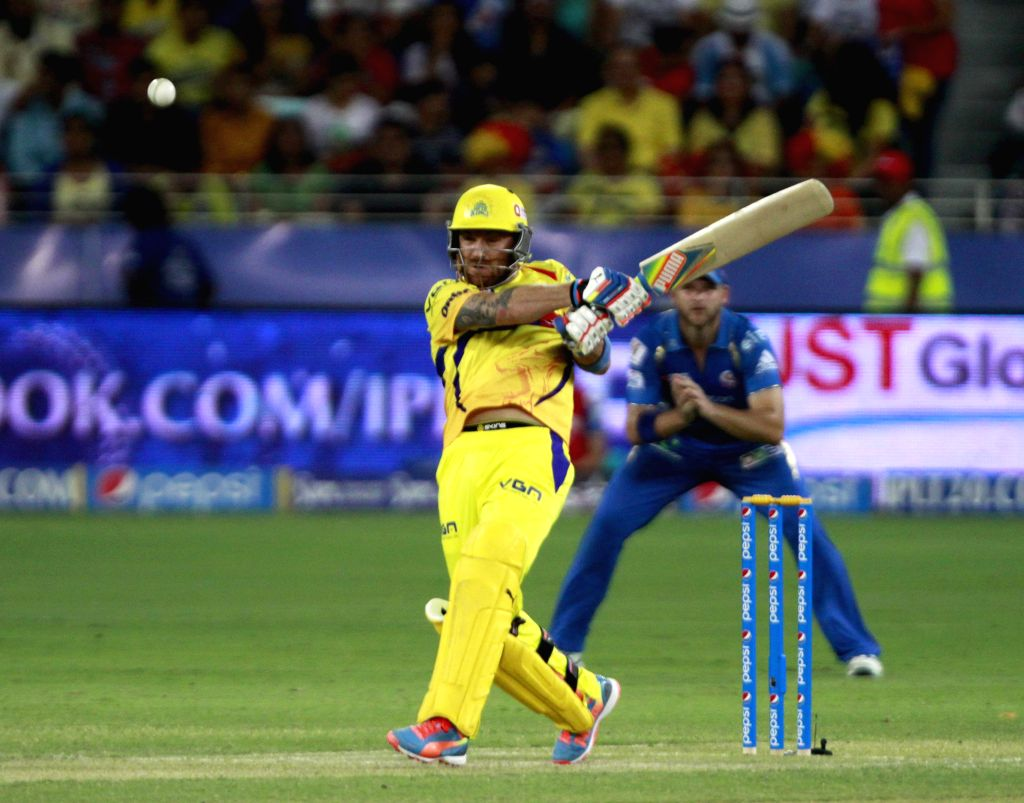 Chennai Super Kings batsman Brendon McCullum in action during the 13th match of IPL 2014 between Chennai Super Kings and Mumbai Indians, played at Dubai International Cricket Stadium in Dubai of ... - Brendon M
