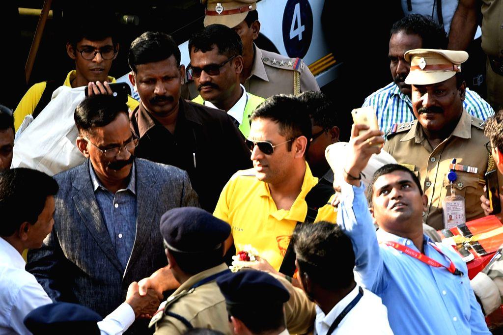 Chennai Super Kings captain M.S. Dhoni arrives at Chennai International Airport on May 28, 2018. The Chennai Super Kings lifted their third Indian Premier League (IPL) title, thrashing ... - M.