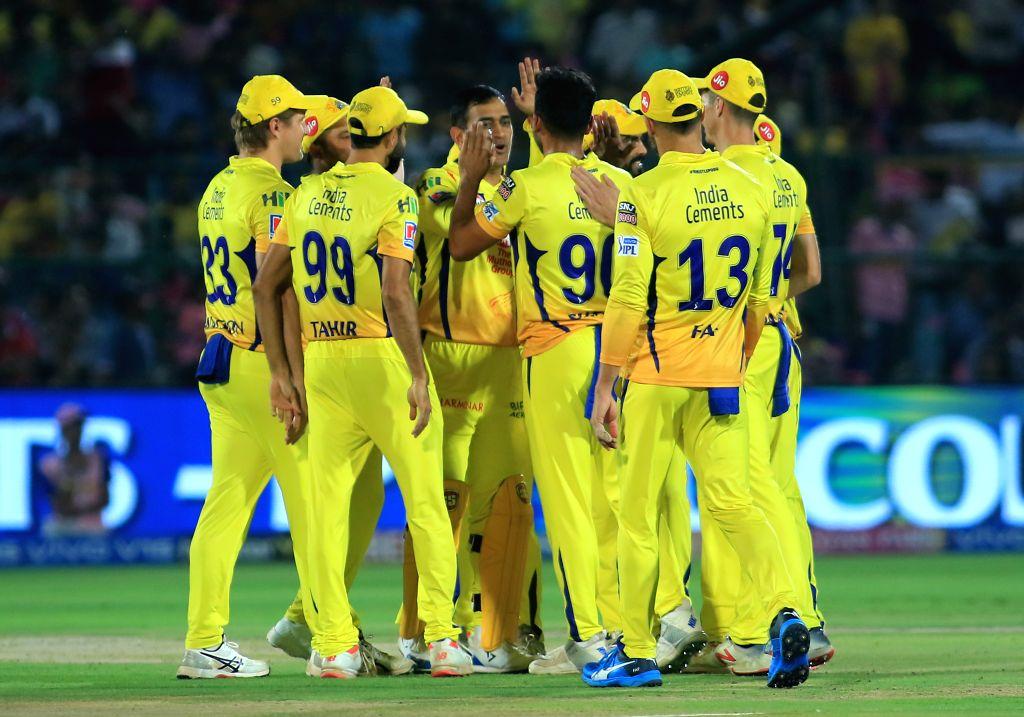 Chennai Super Kings' celebrate fall of Ajinkya Rahane's wicket during the 25th match of IPL 2019 between Rajasthan Royals and Chennai Super Kings at Sawai Mansingh Stadium in Jaipur on April ...