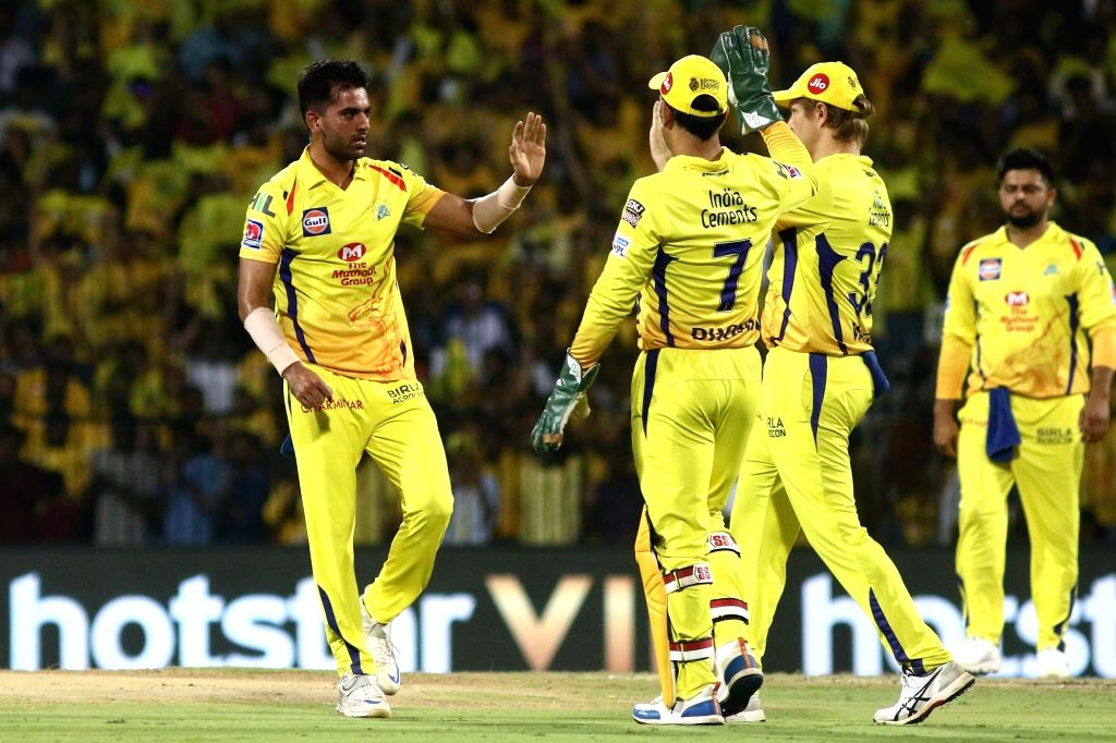 Chennai Super Kings celebrate fall of Chris Lynn's wicket during 23rd match of IPL 2019 between Kolkata Knight Riders and Chennai Super Kings at MA Chidambaram Stadium, in Chennai on April ...