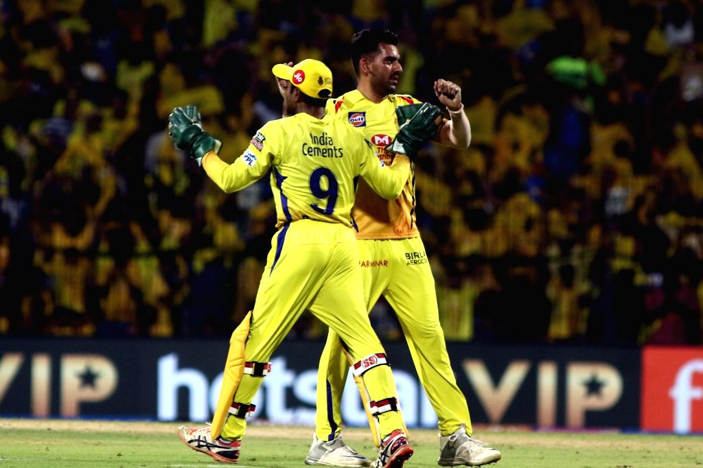 Chennai Super Kings' Deepak Chahar celebrates fall of Quinton de Kock's wicket during the 44th match of IPL 2019 between Mumbai Indians and Chennai Super Kings at MA Chidambaram Stadium in ...
