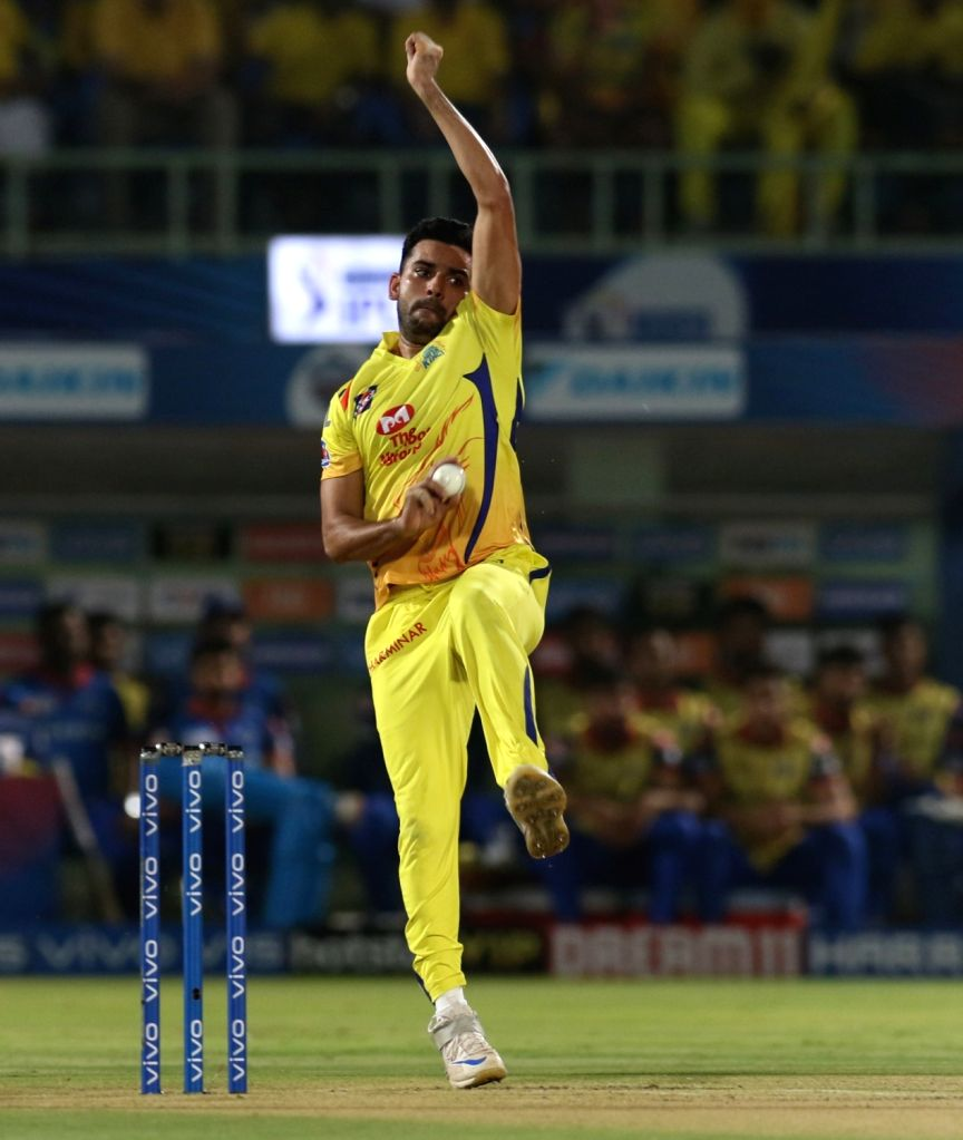 Chennai Super Kings' Deepak Chahar in action during the 2nd Qualifier match of IPL 2019 between Chennai Super Kings and Delhi Capitals at Dr. Y.S. Rajasekhara Reddy Cricket Stadium in ...