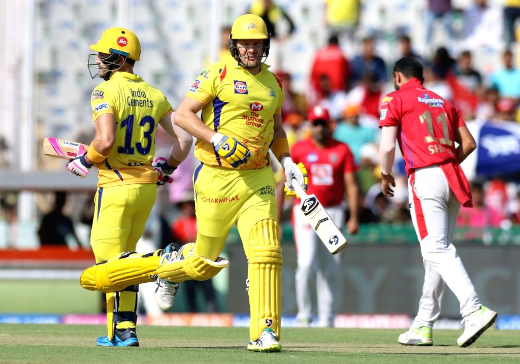 Chennai Super Kings' Faf du Plessis and Shane Watson in action during the 55th match of IPL 2019 between Chennai Super Kings and Kings XI Punjab at Punjab Cricket Association IS Bindra ...