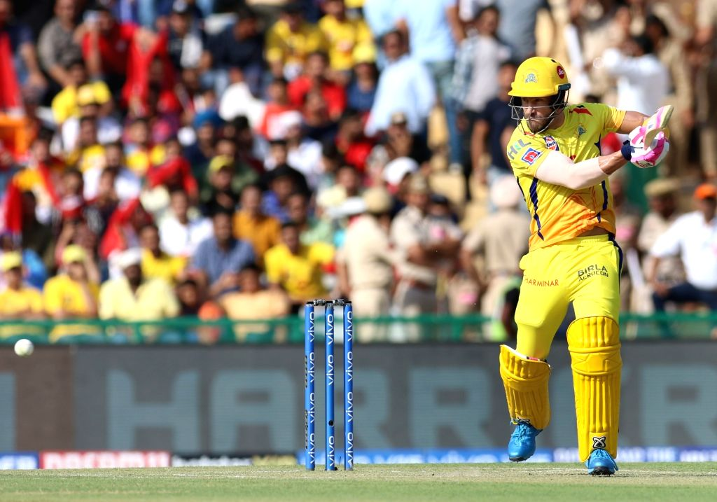 Chennai Super Kings' Faf du Plessis in action during the 55th match of IPL 2019 between Chennai Super Kings and Kings XI Punjab at Punjab Cricket Association IS Bindra Stadium in Mohali, on ...