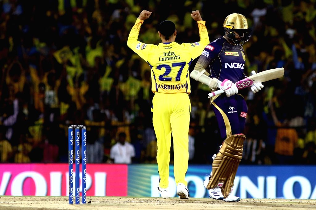 Chennai Super Kings' Harbhajan Singh celebrates fall of Sunil Narine's wicket during the 23rd match of IPL 2019 between Kolkata Knight Riders and Chennai Super Kings at MA Chidambaram ... - Harbhajan Singh