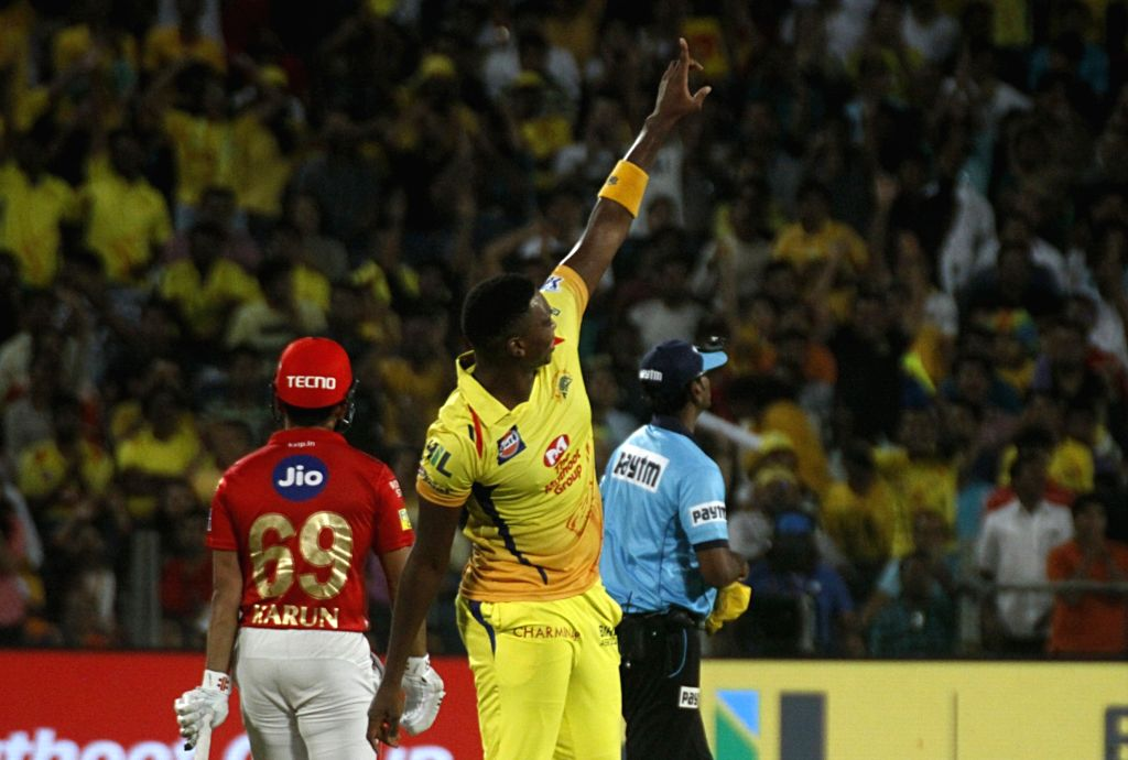 Chennai Super Kings' Lungi Ngidi celebrates fall of Karun Nair's wicket during an IPL 2018 match between Chennai Super Kings and Kings XI Punjab at Maharashtra Cricket Association Stadium in ...