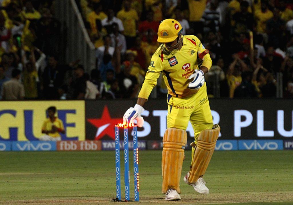 Chennai Super Kings' MS Dhoni celebrates after wining an IPL 2018 match against Kings XI Punjab at Maharashtra Cricket Association Stadium in Pune on May 20, 2018. - MS Dhoni