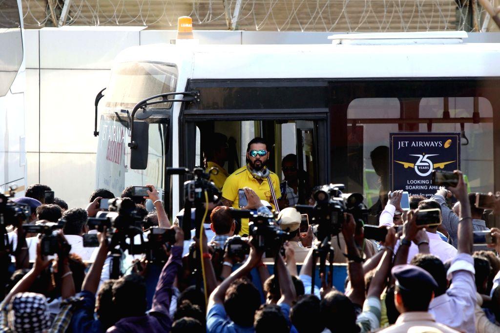 Chennai Super Kings' Murali Vijay arrives at Chennai International Airport on May 28, 2018. The Chennai Super Kings lifted their third Indian Premier League (IPL) title, thrashing Sunrisers ...