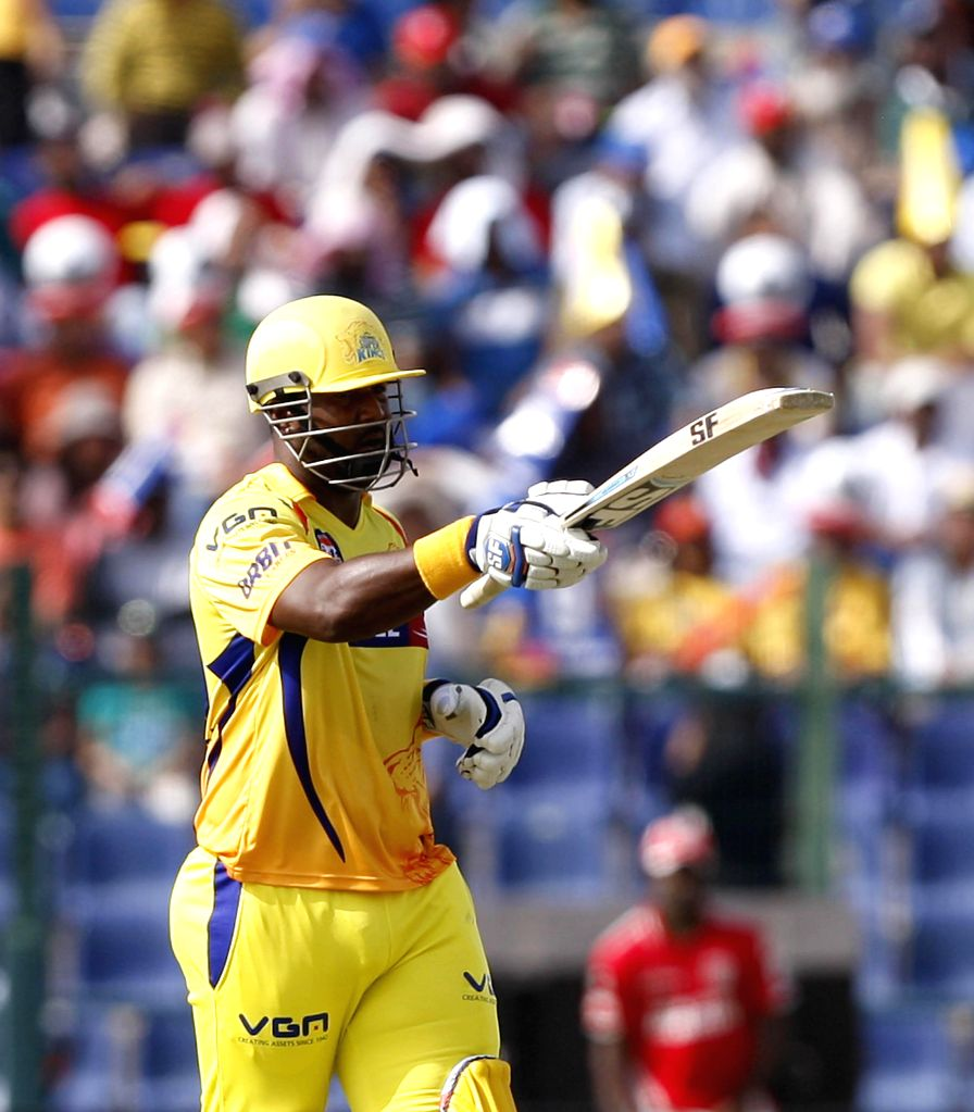 Chennai Super Kings player Dwayne Smith celebrates his half century during the third match of IPL 2014 between Chennai Super Kings and Kings XI Punjab, played at Sheikh Zayed Stadium in Abu Dhabi of .