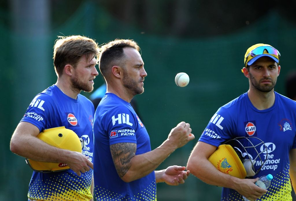 Chennai Super Kings player Faf du Plessis during a practice session in Mohali on April 14, 2018.