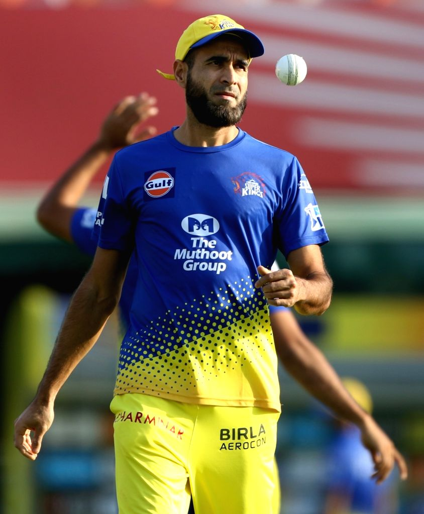 Chennai Super Kings player Imran Tahir during a practice session in Mohali on April 14, 2018.