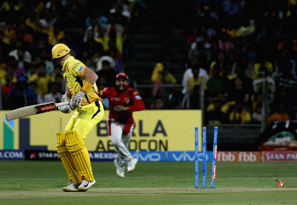 Chennai Super Kings' Sam Billings gets dismissed during an IPL 2018 match between Chennai Super Kings and Kings XI Punjab at Maharashtra Cricket Association Stadium in Pune on May 20, 2018.