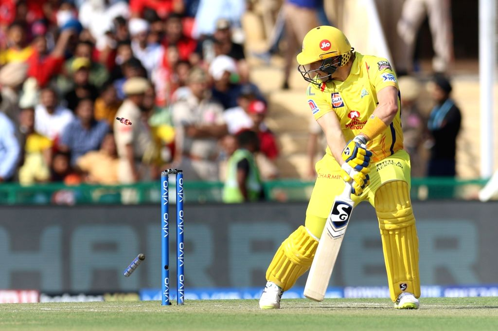 Chennai Super Kings' Shane Watson gets bowled out during the 55th match of IPL 2019 between Chennai Super Kings and Kings XI Punjab at Punjab Cricket Association IS Bindra Stadium in Mohali, ...