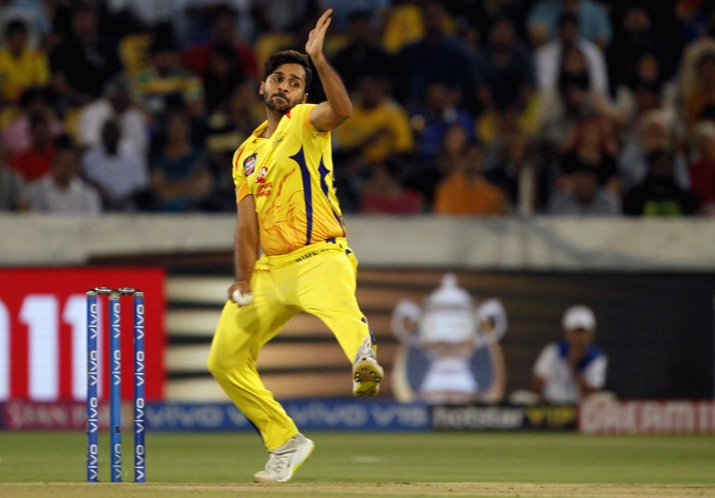 Chennai Super Kings' Shardul Thakur in action during the Final match of IPL 2019 between Chennai Super Kings and Mumbai Indians at Rajiv Gandhi International Stadium in Hyderabad, on May ...