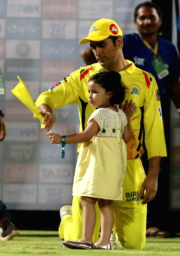Chennai Super Kings' skipper MS Dhoni along with his daughter Ziva after winning the 2nd Qualifier match of IPL 2019 between against Delhi Capitals at Dr. Y.S. Rajasekhara Reddy ... - MS Dhoni