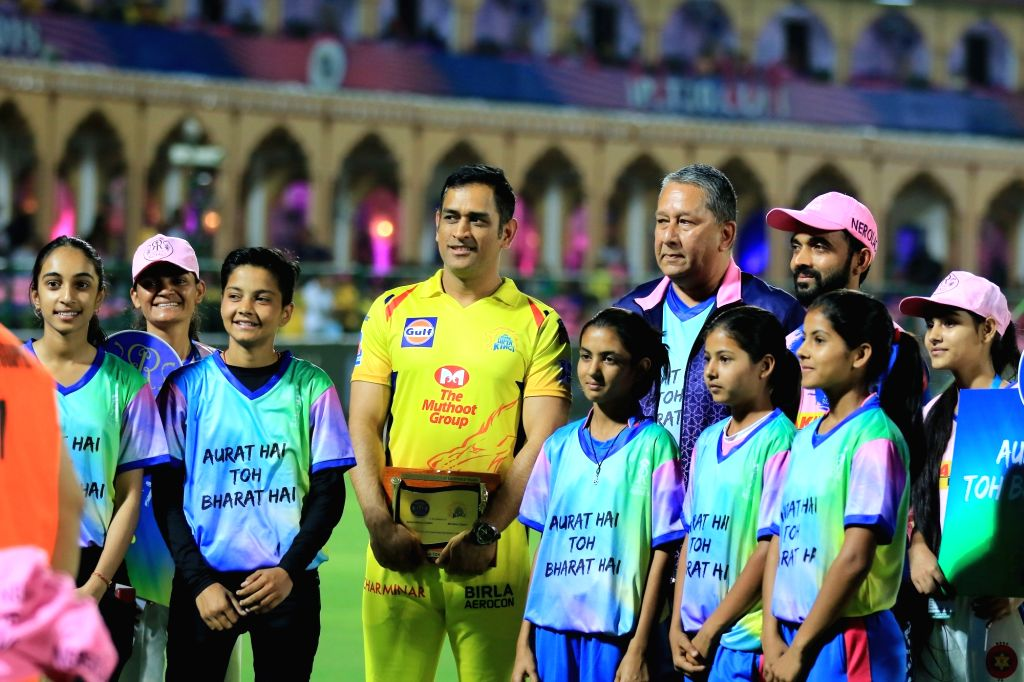 Chennai Super Kings skipper MS Dhoni and Rajasthan Royals skipper Ajinkya Rahane ahead of the toss during the 25th match of IPL 2019 between Rajasthan Royals and Chennai Super Kings at Sawai ... - MS Dhoni