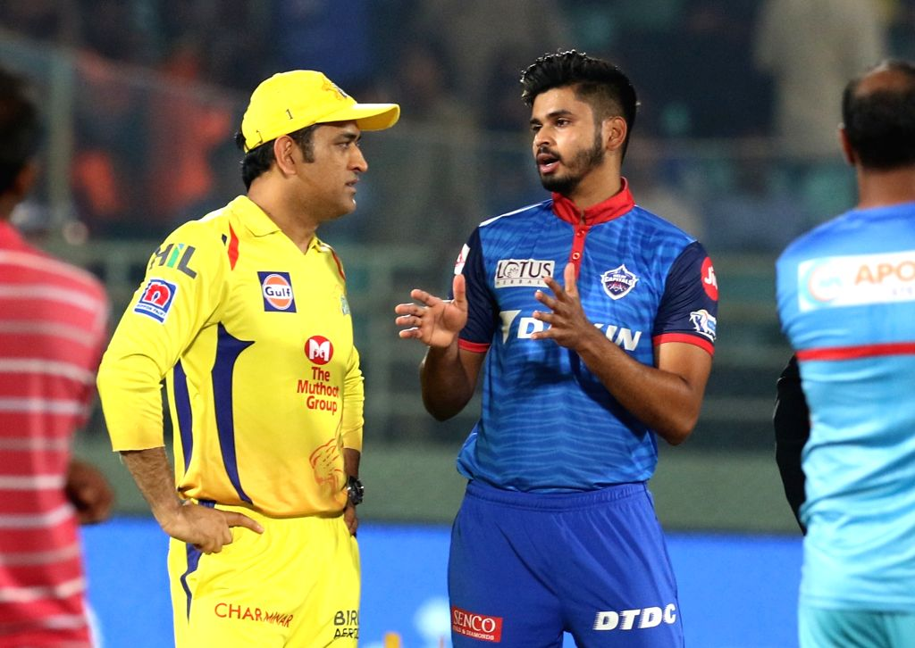 Chennai Super Kings' skipper MS Dhoni and Delhi Capitals' skipper Shreyas Iyer during the 2nd Qualifier match of IPL 2019 between Chennai Super Kings and Delhi Capitals at Dr. Y.S. ... - MS Dhoni