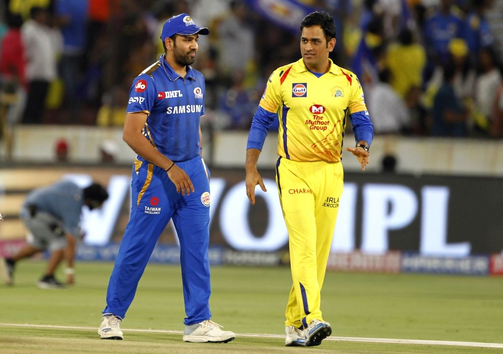 Chennai Super Kings skipper MS Dhoni and Mumbai Indians skipper Rohit Sharma during the toss ahead of the Final match of IPL 2019 between Chennai Super Kings and Mumbai Indians at Rajiv ... - MS Dhoni and Rohit Sharma
