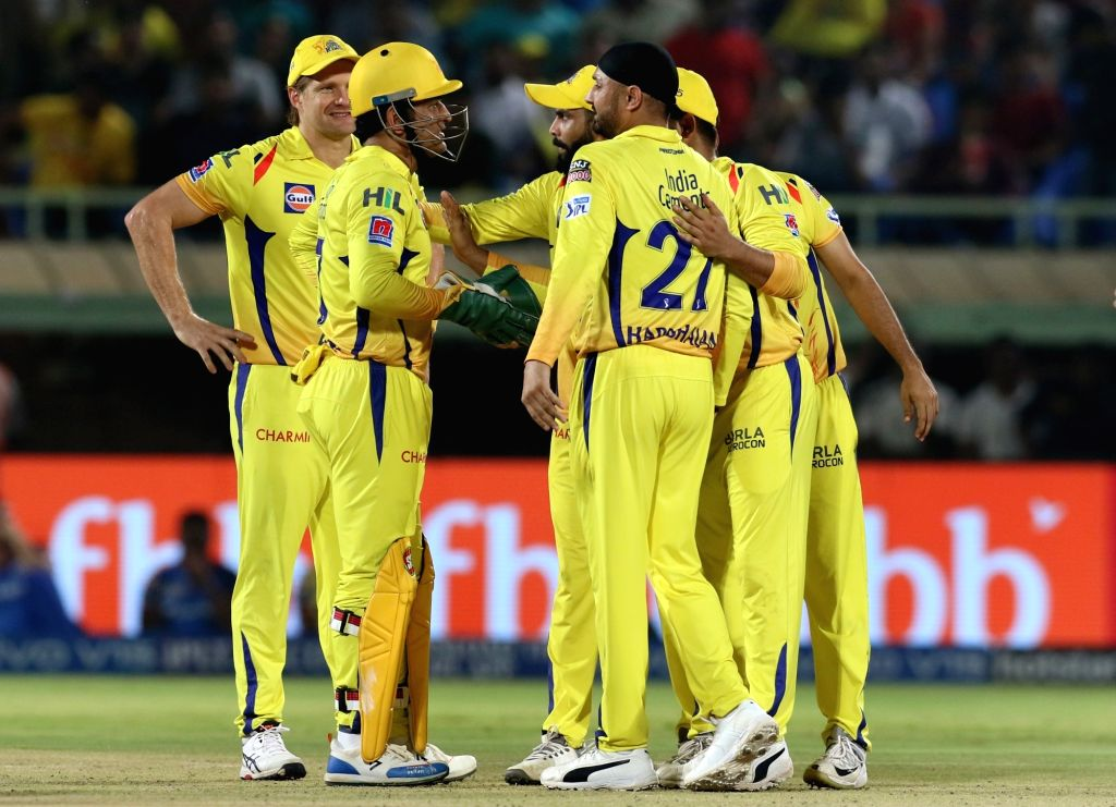 Chennai Super Kings' skipper MS Dhoni celebrates fall of Shikhar Dhawan's wicket during the 2nd Qualifier match of IPL 2019 between Chennai Super Kings and Delhi Capitals at Dr. Y.S. ... - MS Dhoni