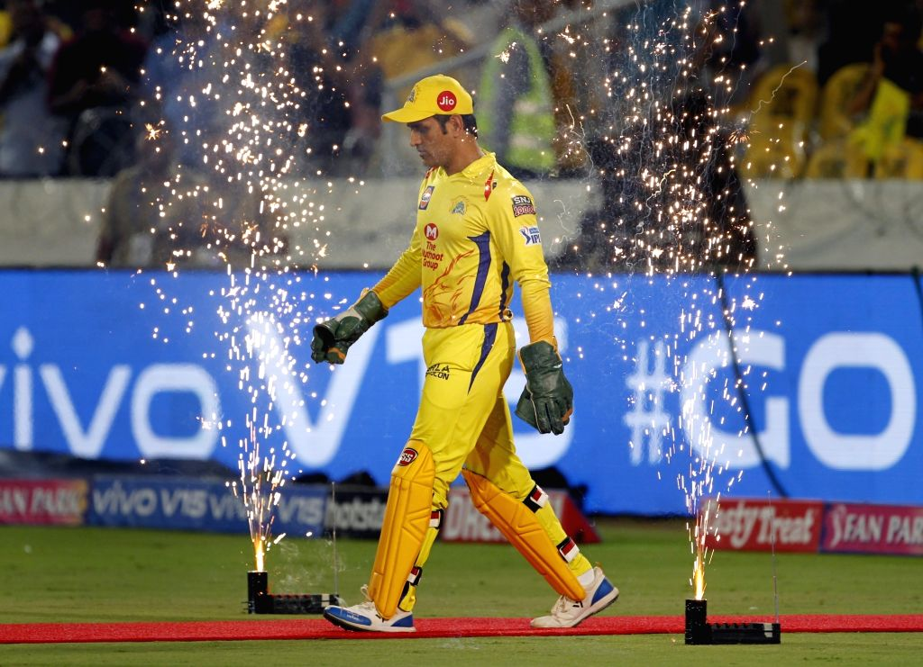 Chennai Super Kings skipper MS Dhoni during the Final match of IPL 2019 between Chennai Super Kings and Mumbai Indians at Rajiv Gandhi International Stadium in Hyderabad, on May 12, 2019. - MS Dhoni