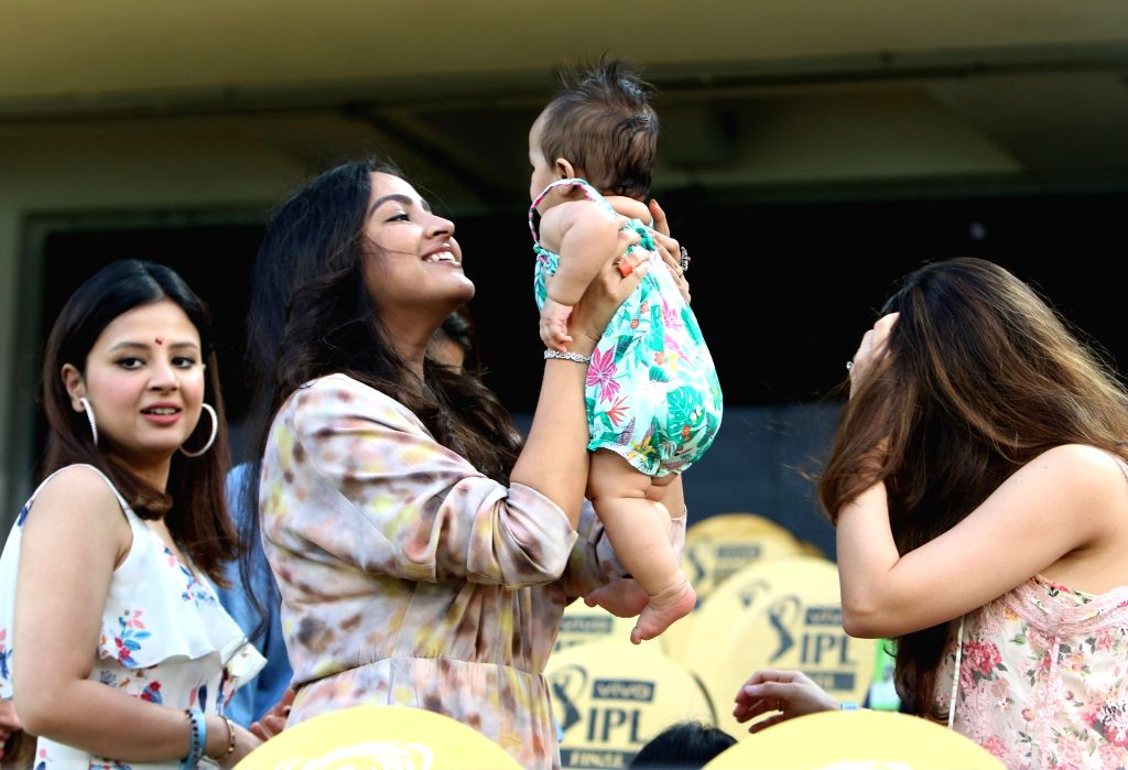 Chennai Super Kings skipper MS Dhoni' wife Sakshi (L) during the Final match of IPL 2019 between Chennai Super Kings and Mumbai Indians at Rajiv Gandhi International Stadium in Hyderabad, ... - MS Dhoni