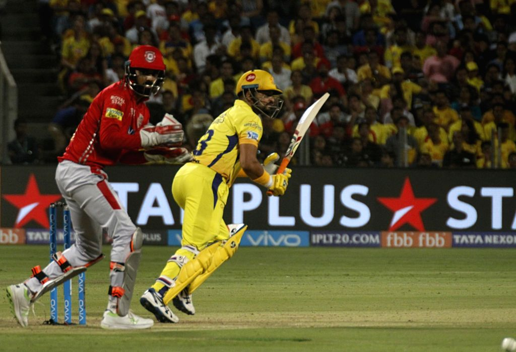 Chennai Super Kings' Suresh Raina in action during an IPL 2018 match between Chennai Super Kings and Kings XI Punjab at Maharashtra Cricket Association Stadium in Pune on May 20, 2018.