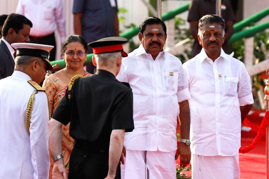Chennai: Tamil Nadu Chief Minister Edappadi K. Palaniswami and Deputy Chief Minister O. Panneerselvam during 2019 Republic Day celebrations at Kamarajar Salai in Chennai, on Jan 26, 2019. (Photo: IANS) - Edappadi K. Palaniswami