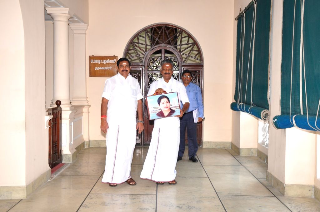 Chennai: Tamil Nadu Chief Minister Edappadi K. Palaniswami with Deputy Chief Minister and Finnace Minister O. Panneerselvam ahead of the presentation of state budget 2019-20 in the state assembly, in Chennai on Feb 8, 2019. (Photo: IANS) - Edappadi K. Palaniswami