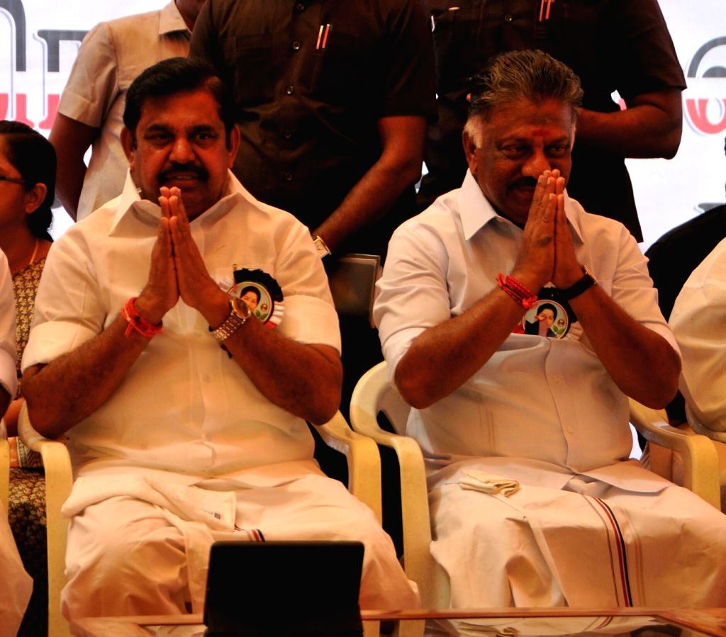 Chennai: Tamil Nadu Chief Minister K. Palaniswami and Deputy Chief Minister O. Panneerselvam participate in a day long hunger strike called by the state's ruling party against the Central Government's failure to set up Cauvery Management Board (CMB)  - K. Palaniswami