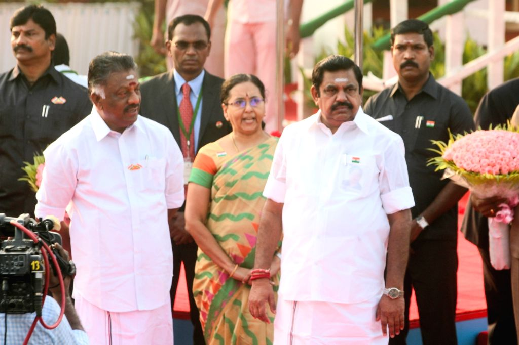 Chennai: Tamil Nadu Chief Minister K. Palaniswami and Deputy Chief Minister O. Panneerselvam during Republic Day celebrations in Chennai on Jan 26, 2018. Also seen with Chief Minister K. Palaniswami. (Photo: IANS) - K. Palaniswami