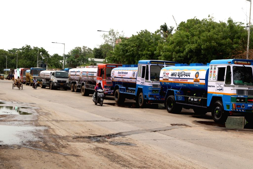 Chennai: Tankers remain parked as the owners of tanker lorries working on contract with Bharat Petroleum and Hindustan Petroleum, go on strike to press for higher rental rates, in Chennai on July 9, 2018. (Photo: IANS)
