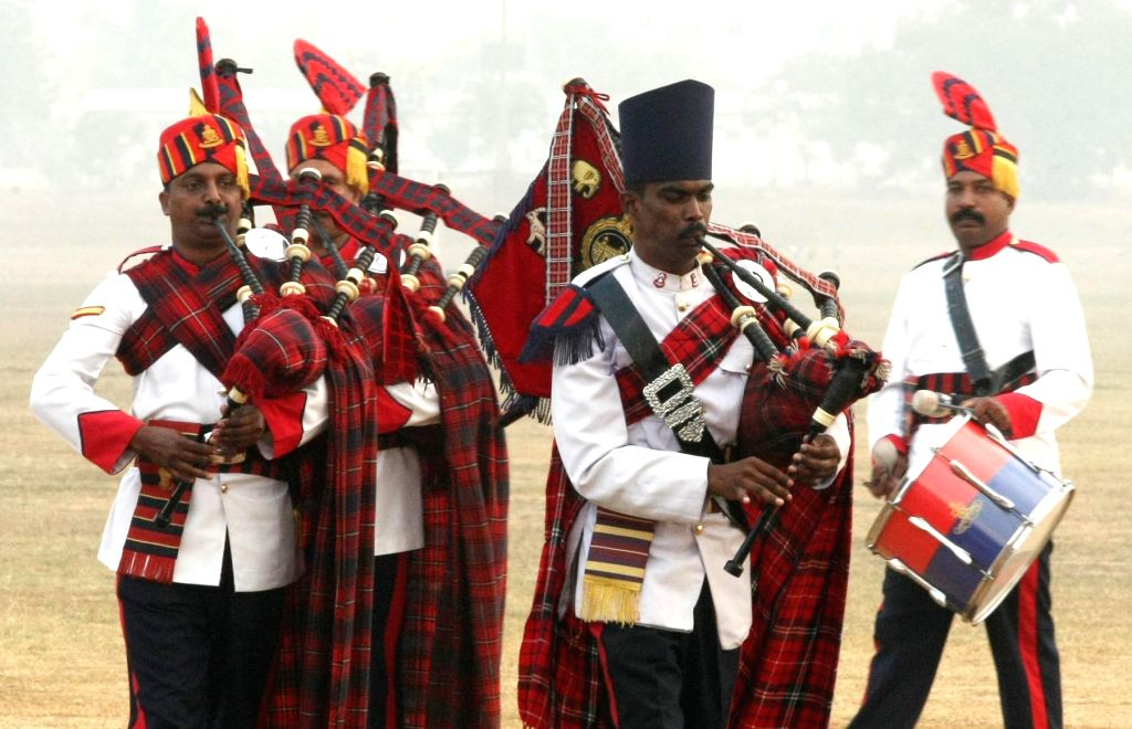The Madras Sappers and The Artillery Centre bands perform during the Combined display - a prelude to the Passing Out Parade - organised at Officers Training Academy (OTA), in Chennai on ...