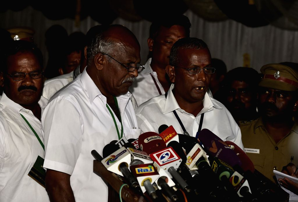 The representatives of the fishermen from India and Sri Lanka address a press conference after a meeting in Chennai on March 24, 2015.
