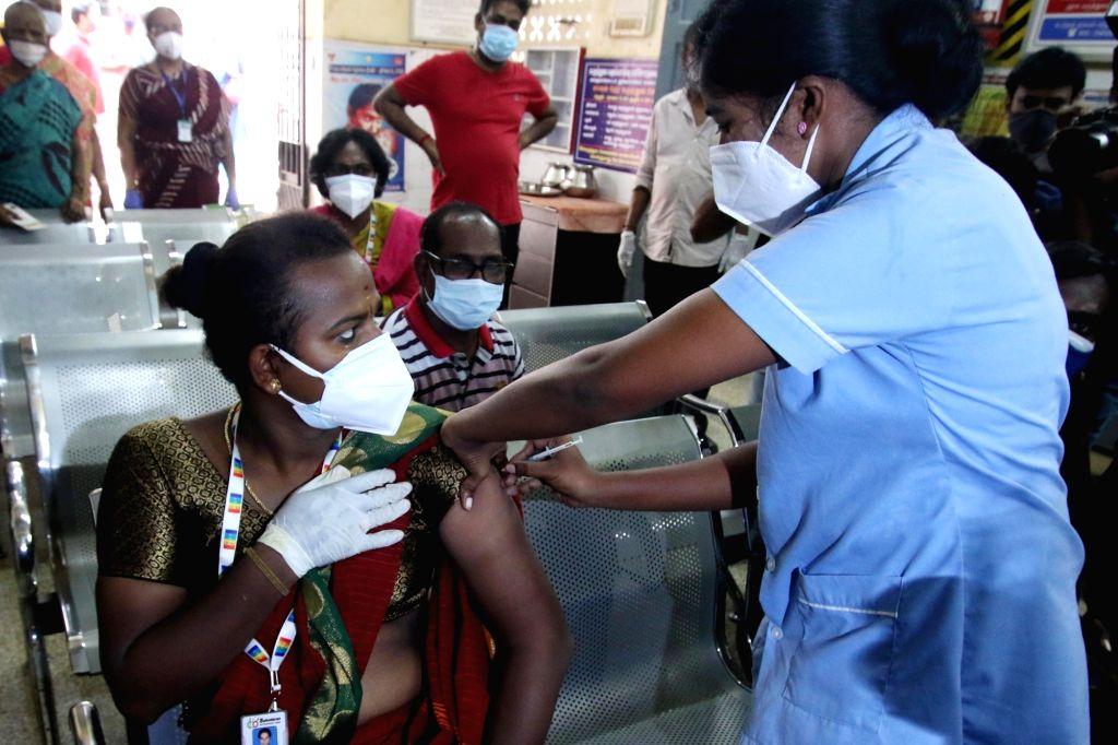 Chennai: Transgender getting vaccinated in Chennai on Thursday, 20 May, 2021. (Photo: R. Parthibhan/IANS)