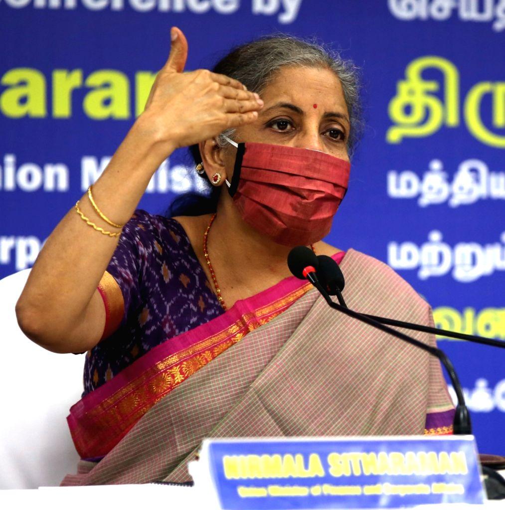 Chennai: Union Finance and Corporate Affairs Minister Nirmala Sitharaman addresses a press conference, in Chennai on Oct 6, 2020. (Photo: IANS) - Nirmala Sitharaman