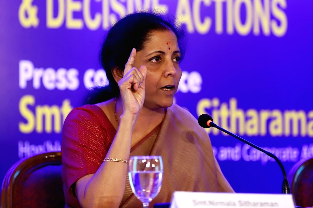 Chennai: Union Finance and Corporate Affairs Minister Nirmala Sitharaman addresses a press conference on completion of 100 Days of Government, in Chennai on Sep 10, 2019. (Photo: IANS) - Nirmala Sitharaman